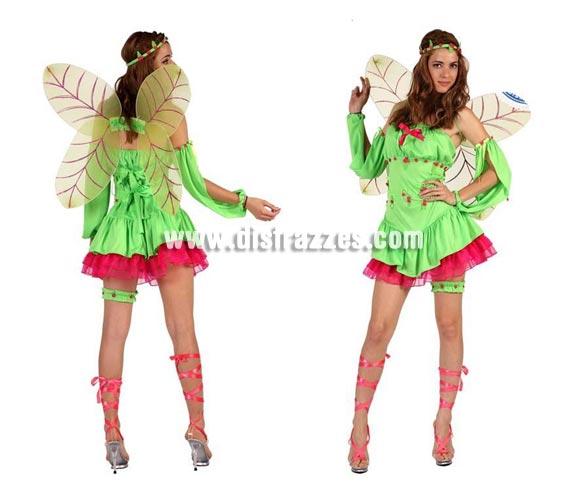 Disfraz de Hada Primavera sexy para mujer. Talla 2 ó talla Standar M-L 38/42. Incluye vestido, alas, manguitos, liga y cinta de la cabeza.