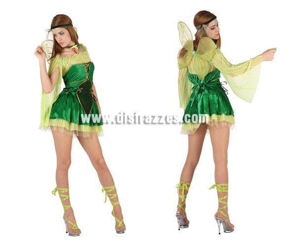 Disfraz de Hada del Bosque sexy para mujer. Talla 2 ó talla standar M-L 38/42. Incluye vestido, alas, cinta de la cabeza y cinta del cuello.