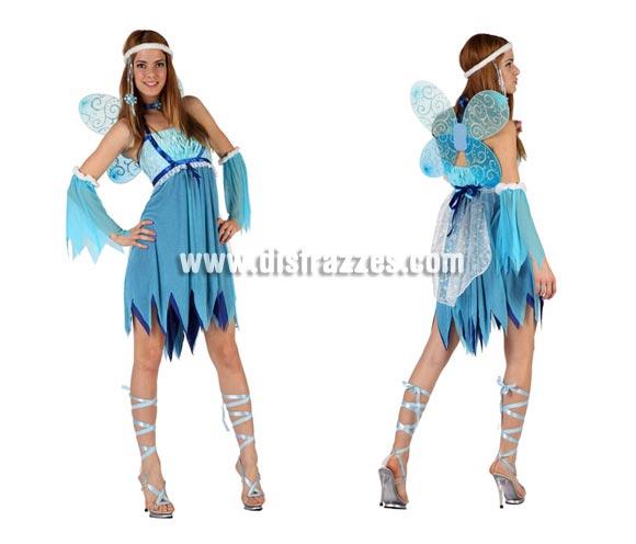 Disfraz de Hada Invierno sexy para mujer. Talla 2 ó talla standar M-L 38/42. Incluye vestido, mangas, alas y cinta de la cabeza.Cinta de las piernas NO incuidas.