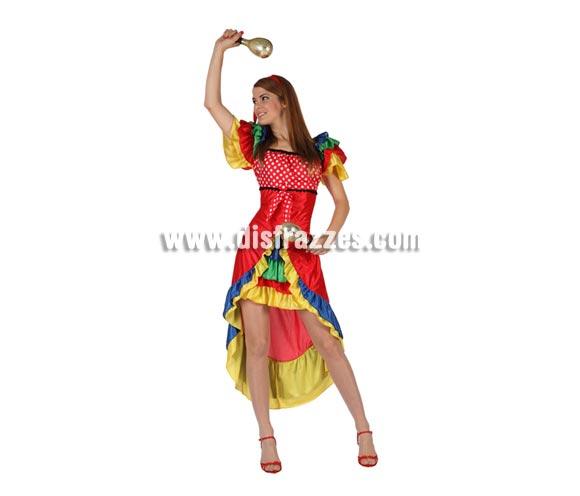 Disfraz de Rumbera para mujer. Talla 2 ó talla Standar M-L 38/42. Incluye vestido y tocado. Maracas NO inlcuidas, podrás encontrar en nuestra sección de Complementos.