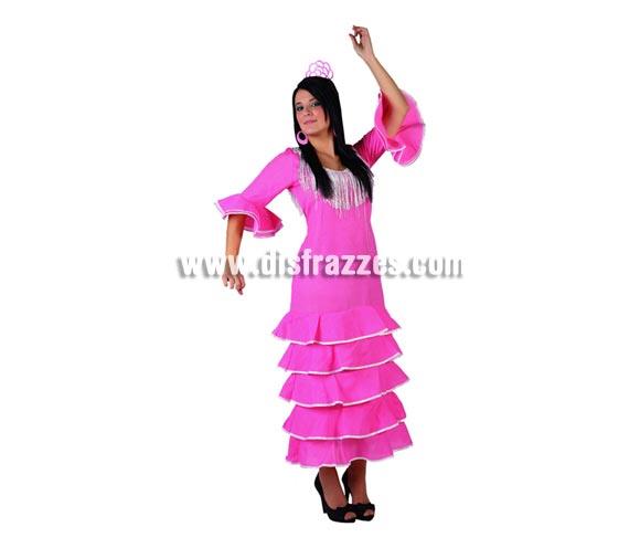Disfraz de Bailaora Flamenca rosa con lunar blanco para mujer. Talla 2 ó talla standar M-L 38/42. Imcluye vestido. Pendientes y peineta NO inlcuidas, podrás encontrar en nuestra sección de Complementos.