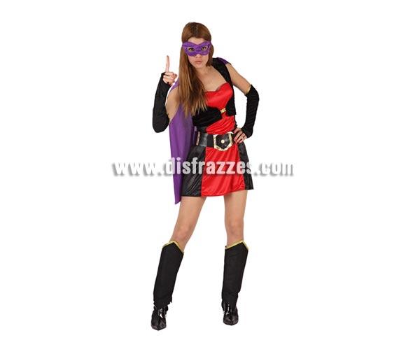 Disfraz de Super Heroína lila sexy para mujer. Talla 2 ó talla standar M-L 38/42. Incluye disfraz completo.