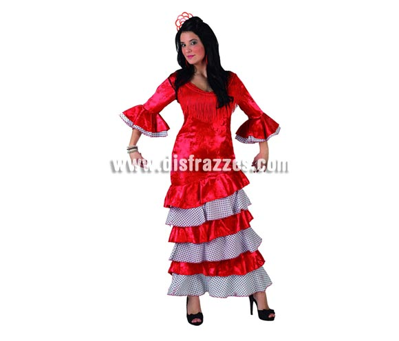 Disfraz de Flamenca lujo rojo para para mujer. Talla 3 ó talla XL 44/48. Incluye vestido.