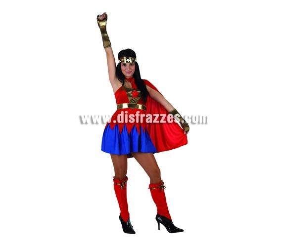 Disfraz de Super Heroína sexy roja para mujer. Talla 2 ó talla standar M-L 38/42. Incluye disfraz completo.