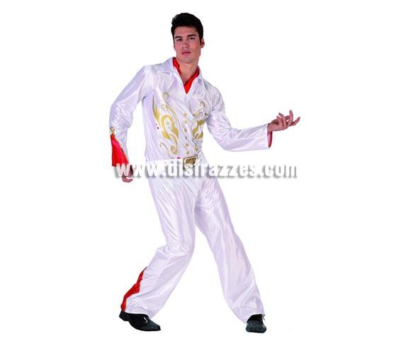 Disfraz de  Cantante de Rock para hombre. Talla 2 ó talla M-L standar 52/54. Incluye traje completo. Disfraz del Rey del Rock para imitar a Elvis perfecto para Despedidas de Soltero.