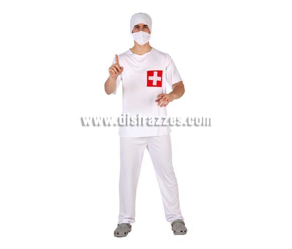 Disfraz de Cirujano blanco para hombre. Talla 2 ó talla standar M-L 52/54. Incluye camisa, gorro, mascarilla y pantalón.