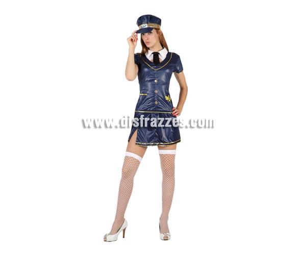 Disfraz barato de Azafata sexy para mujer. Talla 2 ó talla standar M-L 38/42. Incluye falda, camisa, cuello con corbata y gorra.