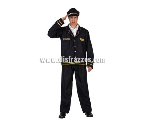 Disfraz de Piloto de Vuelo o Comandante de Vuelo para hombre. Talla 2 ó talla M-L standar 52/54. Incluye pantalón, chaqueta y gorra.