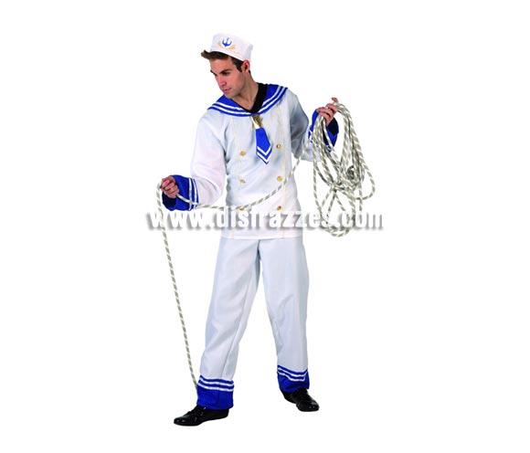 Disfraz de Marinero blanco para hombre. Talla 2 ó talla standar M-L 52/54. Incluye pantalón, camisa y gorro. Cuerda NO incluida.