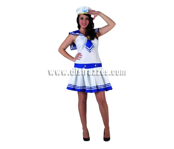 Disfraz de Marinera sexy blanco para mujer. Talla 3 ó talla XL 44/48. Incluye vestido y gorra.