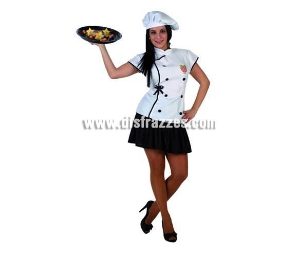 Disfraz de Cocinera para mujer. Talla 2 ó talla Standar M-L 38/42. Incluye camisa, falda y gorro.