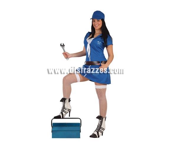 Disfraz de Mecánica sexy azul para mujer. Talla 2 ó talla standar M-L 38/42. Incluye vestido, cinturón y gorra. Complementos NO incluidos.