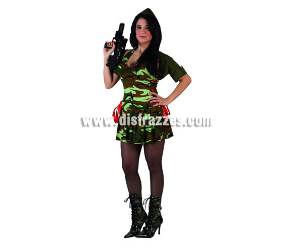 Disfraz barato de Militar sexy para mujer. Talla 2 ó talla Standar M-L 38/42. Incluye vestido con chaqueta y gorro. Metralleta NO incluida, podrás encontrar en nuestra sección de Complementos.