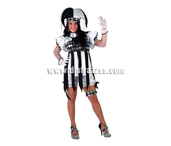 Disfraz de Arlequín para mujer. Talla XL = 44/48. Incluye gorro, camisa, cuello, pantalón y liga. Guantes NO incluidos.