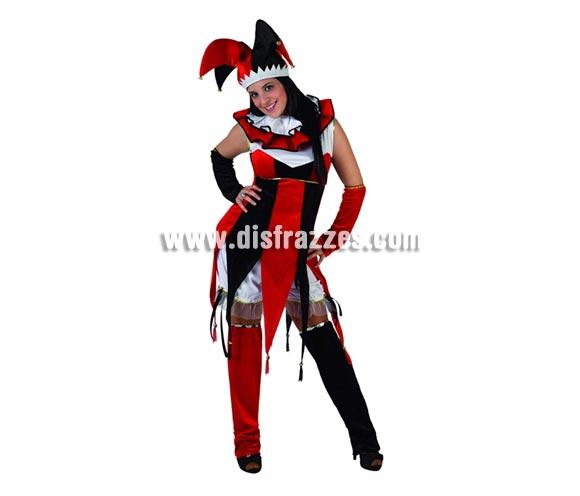 Disfraz de Bufón rojo y negro para mujer. Talla 2 ó talla standar M-L 38/42. Incluye disfraz completo y gorro. Éste disfraz también puede decirse que es un disfraz de Arlequín para chicas.