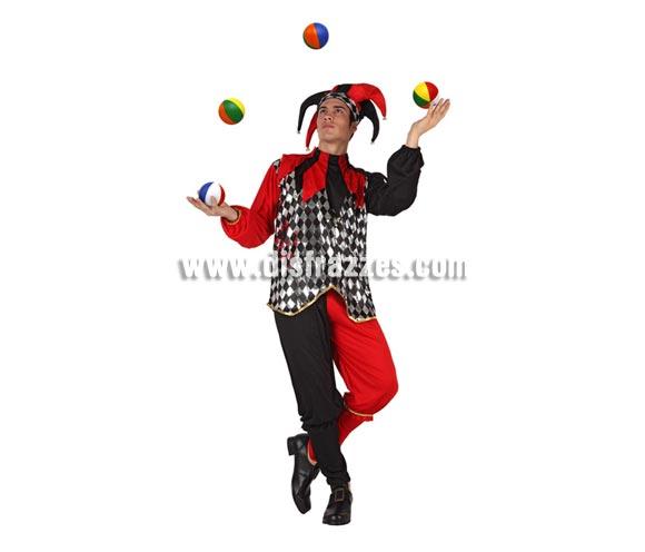 Disfraz de Bufón rojo y negro para hombre. Talla 2 ó talla Standar M-L = 52/54. Incluye traje completo y gorro. Pelotas NO incluidas. Éste disfraz también puede decirse que es un disfraz de Arlequín para chicos.