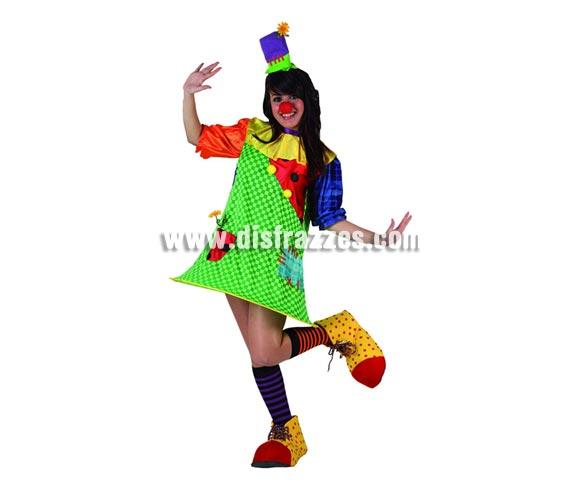 Disfraz de Payasa con aro para mujer. Talla 2 ó talla standar M-L = 38/42. Incluye vestido y sombrero. Nariz, zapatones y medias NO incluidos, podrás encontrar en nuestra sección de Complementos.