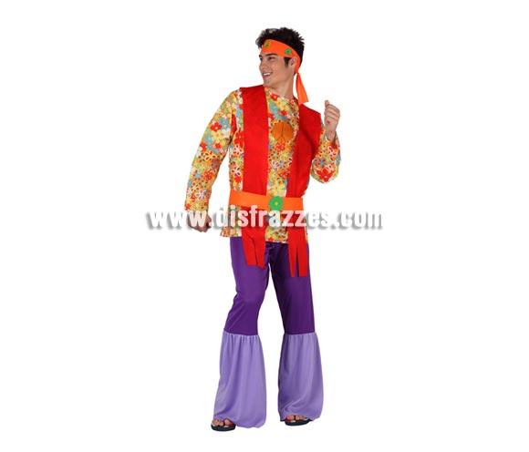 Disfraz de Hippie Psicodelico para hombre. Talla 2 ó talla standar M-L 52/54. Incluye traje completo.