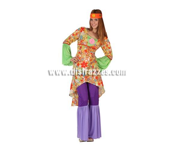 Disfraz de Hippie Psicodelica para mujer. Talla 2 ó talla standar M-L 38/42. Incluye pantalón, camisa y cinta de la cabeza.
