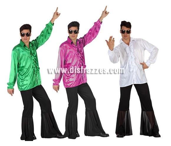 Disfraz de Chico de la Disco o de Discotequero para hombre. Talla 2 ó talla standar M-L 52/54. Incluye pantalón y camisa. Tres modelos surtidos, precio por unidad, se venden por separado.