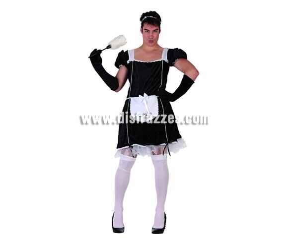 Disfraz de Sirvienta para hombre. Talla 2 ó talla standar M-L 52/54. Incluye vestido, guantes y cofia. Plumero y medias NO incluidos. Disfraz de Limpiadora para hombre.