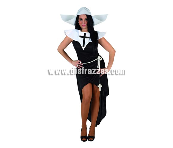 Disfraz barato de Monja sexy para mujer. Talla 2 ó talla standar M-L 38/42. Incluye traje completo.