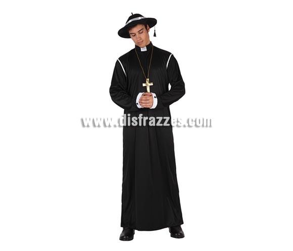 Disfraz barato de Sacerdote para hombre. Talla 2 ó talla standar M-L 52/54. Disfraz de Cura o de Padre.  Incluye túnica, cruz y sombrero.