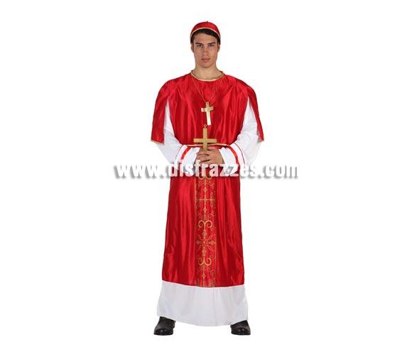Disfraz de Cardenal rojo para hombre. Talla 2 ó talla standar M-L 52/54. Incluye túnica, gorro y colgante de cruz..