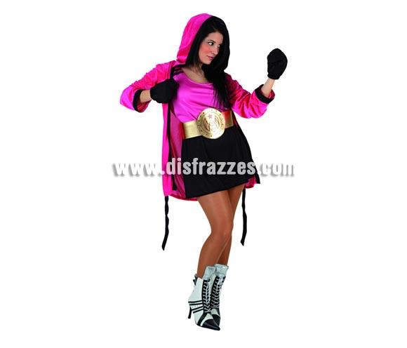 Disfraz de Boxeadora para mujer. Talla 2 ó talla standar M-L 38/42. Incluye falda, cinturón, guantes, camisa y chaqueta con capucha.