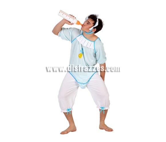 Disfraz barato de Bebé chupete azul para hombre. Talla 2 ó talla Standar M-L 52/54. Incluye pantalón, body y cinta de la cabeza.