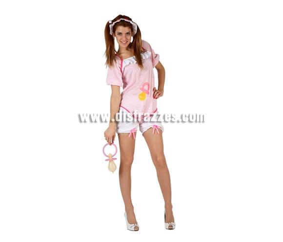 Disfraz de Bebé chupete rosa sexy para mujer. Talla 2 ó talla Standar M-L 38/42. Incluye pololos, body y cofia. Chupete NO incluido, podrás encontrar en nuestra sección de Complementos.