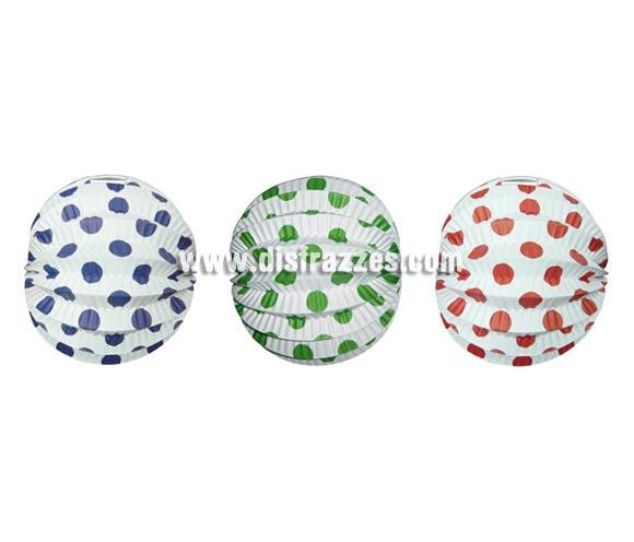 Farol esférico lunares de 22 cm de diámetro. Disponible en 3 colores surtidos. Precio por unidad, se venden por separado. Ideal para decorar cualquier Fiesta Andaluza, Sevillana o Española. Perfectos para la Feria de Abril.