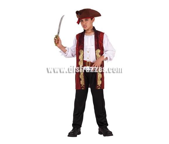 Disfraz de Pirata lujo para niños de 3 a 4 años. Incluye pantalón, cinturón, chaleco, camisa, y sombrero. Espada NO incluida, podrás verla en la sección de Complementos.