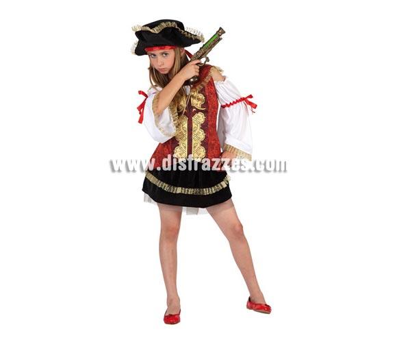 Disfraz de Pirata Lujo para niñas de 7 a 9 años. Incluye falda, camisa con corse y sombrero. Trabuco NO incluido, podrás verlo en la sección de Complementos.