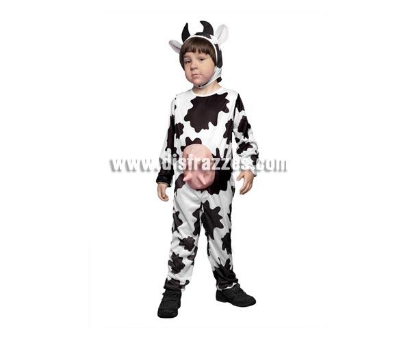 Disfraz de Vaca con ubres infantil barato para Carnaval. Talla de 5 a 6 años. Incluye mono y gorro.
