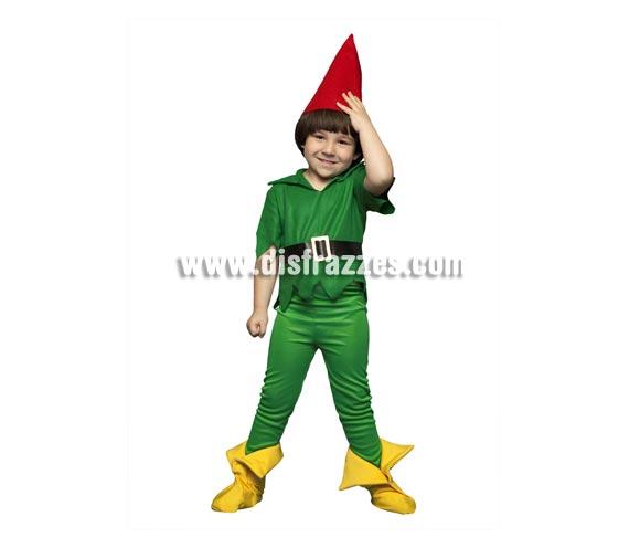 Disfraz barato de Duendecillo verde para niños de 5 a 6 años. Incluye gorro, camisa, cinturón, pantalón y cubrezapatos. También se usa como disfraz de Enanito, Elfo o Duende para acompañar a Papa Noel en Navidad.