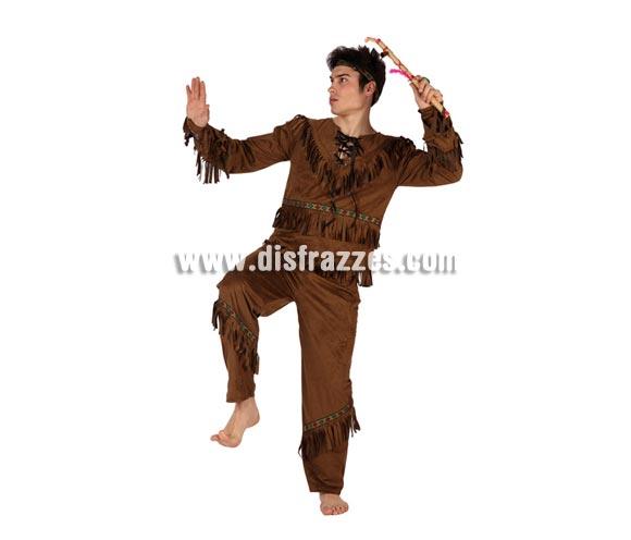 Disfraz de Indio marrón para hombre. Talla 2 ó talla standar M-L 52/54. Incluye pantalón, camisa y cinta de la cabeza. Hacha NO incluida, podrás encontrar en nuestra sección de Complementos.