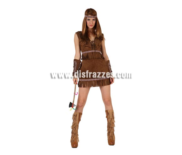 Disfraz de India marrón sexy para mujer. Talla 2 ó talla Standar M-L 38/42. Incluye falda, camisa y cinta de la cabeza. Hacha NO incluida, podrás encontrar en nuestra sección de Complementos.