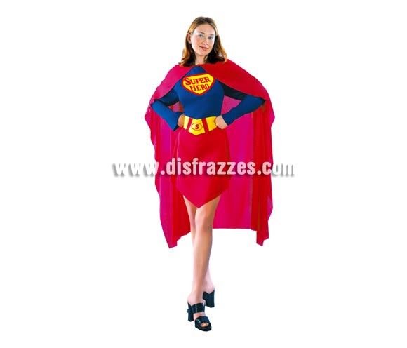 Disfraz de Superwoman adulta. Disfraz de Super Girl. Talla Standar M-L 38/42. Incluye vestido, capa y cinturón.