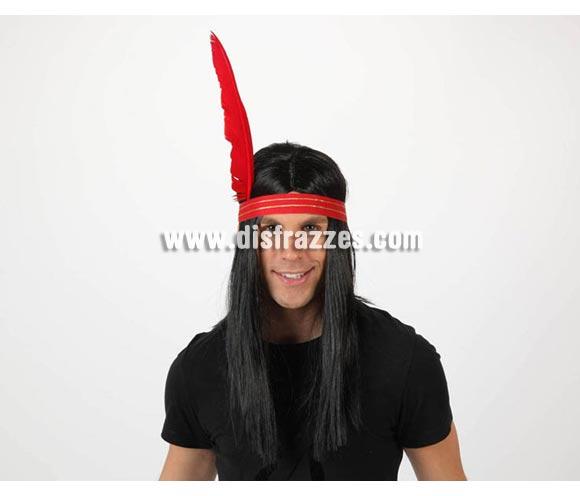 Peluca de Indio para hombre con cinta y pluma.