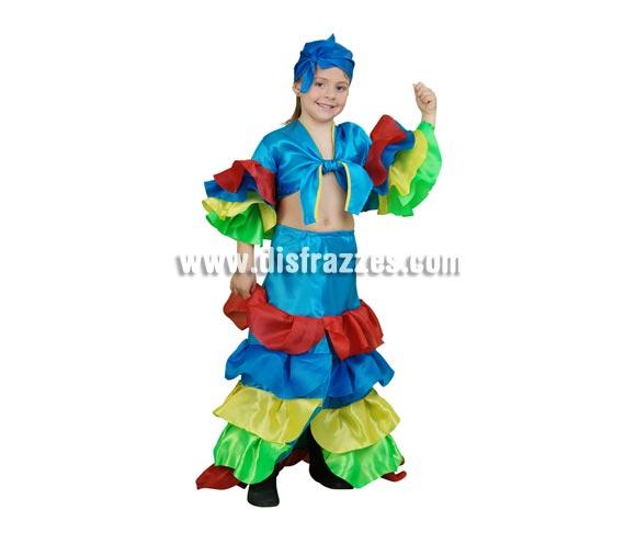 Disfraz de Rumbera azul infantil para Carnaval. Talla de 7 a 9 años. Incluye falda, camisa y pañuelo. Disfraz de Caribeña o Brasileña.