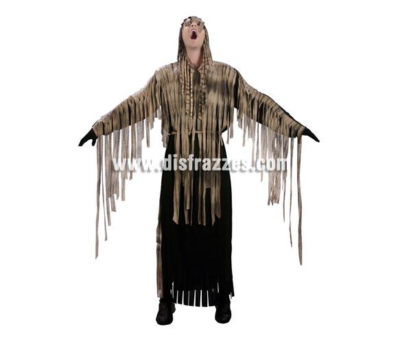 Disfraz de Zombie adulto para Halloween. Talla estándar M-L = 52/54. Disfraz barato de Halloween que incluye túnica con capucha y cinturón.