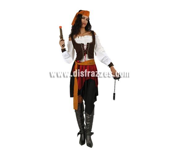 Disfraz barato de Pirata o Bucanera para mujer. Talla 2 ó talla standar M-L 38/42. Incluye falda, cinturón, camisa, corpiño y pañuelo de la cabeza. Trabuco y esposas NO incluidos, podrás encontrar en nuestra sección de Complementos.