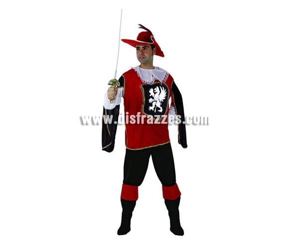 Disfraz de Mosquetero rojo para hombre. Talla 2 ó talla standar M-L = 52/54. Incluye camisa, sombrero, pantalón y cubrebotas. Espada NO incluida, podrás encontrar en nuestra sección de Complementos.