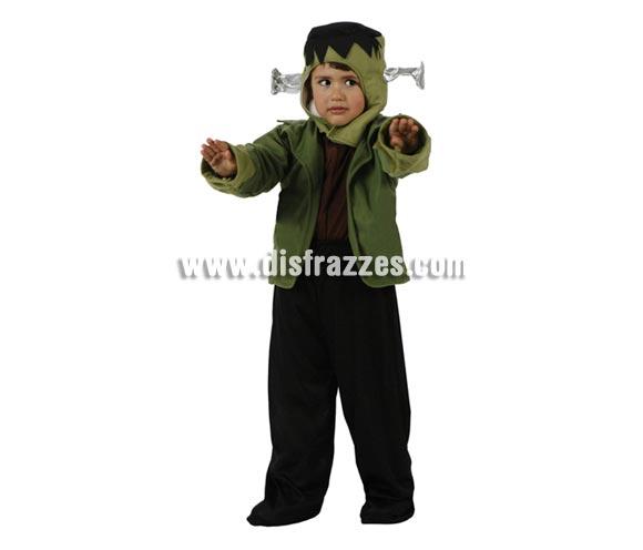 Disfraz de pequeño Monstruo verde niños 3-4 años. Disfraz de Frankenstein para niños de 3 a 4 años.