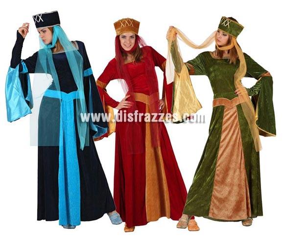 Disfraz de Dama Medieval para mujer. Talla 2 ó talla standar M-L 38/42. Incluye vestido y gorro. Tres modelos surtidos, precio por unidad, se venden por separado