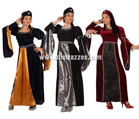 Disfraz de Princesa Medieval para mujer. Talla 2 ó talla Standar M-L 38/42. Incluye vestido y tocado. Tres modelos surtidos, precio por unidad, se venden por separado