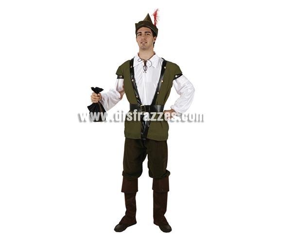 Disfraz de Arquero o de Robin Hood para hombre. Talla 2 ó talla standar M-L 52/54. Incluye camisa, cinturón, pantalón, gorro y cubrebotas. Complementos NO incluidos.