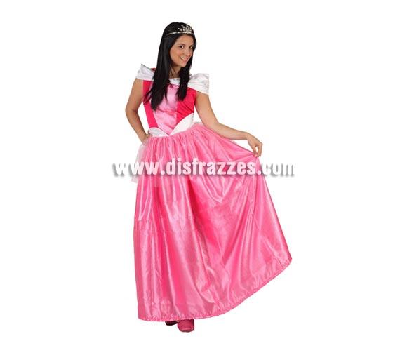Disfraz barato de Princesa Rosa o Dama de Cuento para mujer. Talla 2 ó talla standar M-L = 38/42. Incluye vestido. Corona NO incluida, podrás encontrar en nuestra sección de Complementos. Éste disfraz también puede decirse que es un disfraz de Bella Durmiente para chicas.