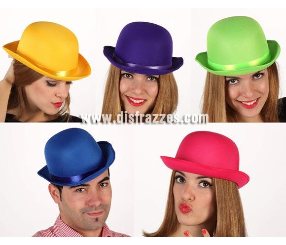 Sombrero Bombín Fluorescente. Cinco colores surtidos, precio por unidad, se venden por separado.